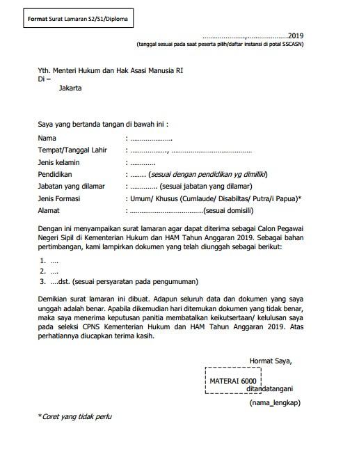 Form Surat Lamaran S1 2019